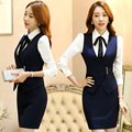 A Flight Attentant Skirt Suit Formal Slim Long-sleeve Bowknot Shirt with Skirt/Trousers and Jacket Plus Size Women Suits