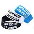 1 PC Parkour Eu Prometi a Tinta-Preenchido Cor Pulseira de Silicone para o Esporte