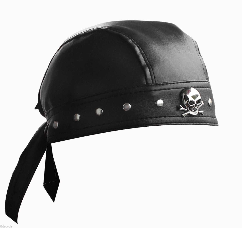 54f09adaf7 Leather Bandana Biker Doo Do Rag Headwrap Studded Skull Cap Capsmith Du Rag
