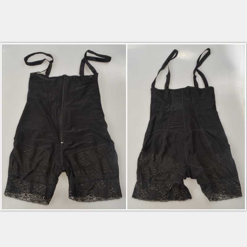 Frauen Shapewear Zipper Body Shaper Abnehmen Korsett Butt Heber Mit Bauch-steuer Schwarz Spitze Body Frauen Plus Größe Unterwäsche