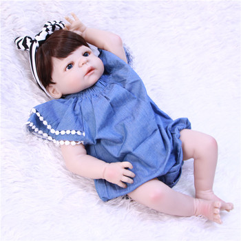 NPKCOLLECTION 55cm Full Silicone Body Reborn Baby Doll Toy Like Real 22inch Newborn Girl Princess Babies Doll Bathe Toy Kid Gift
