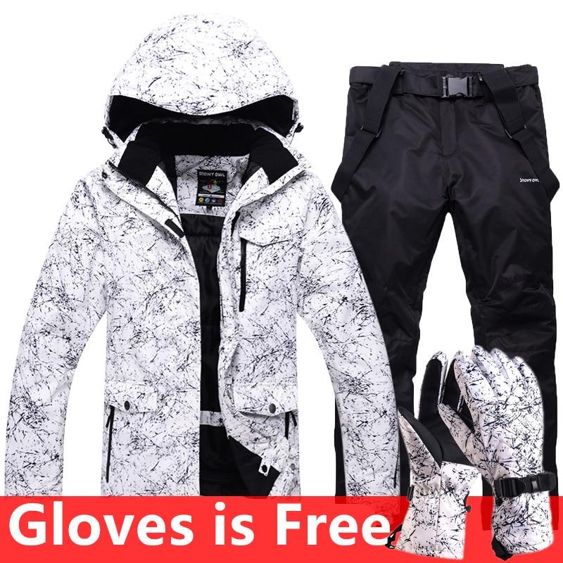 2018 Nouveau Costume De Ski Hommes Femmes Couples Simples Double Conseil Ski Pantalon Imperméable Épais Et Warmer Ski Vêtements Gants Pour livraison