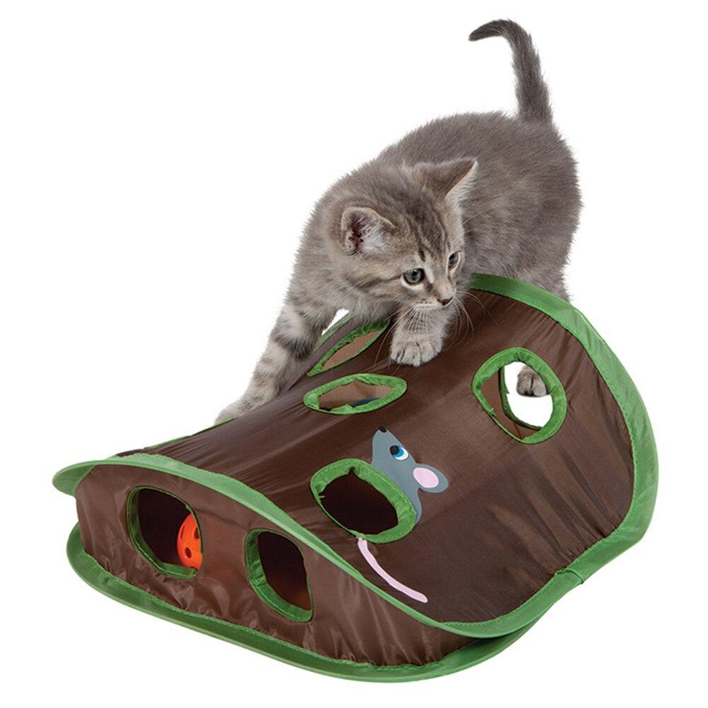 Drôle animal chat souris Intelligence jouets éducatifs jouer cloche tente avec 9 trous Tunnel Pet Cat jouer jouets fournitures #20