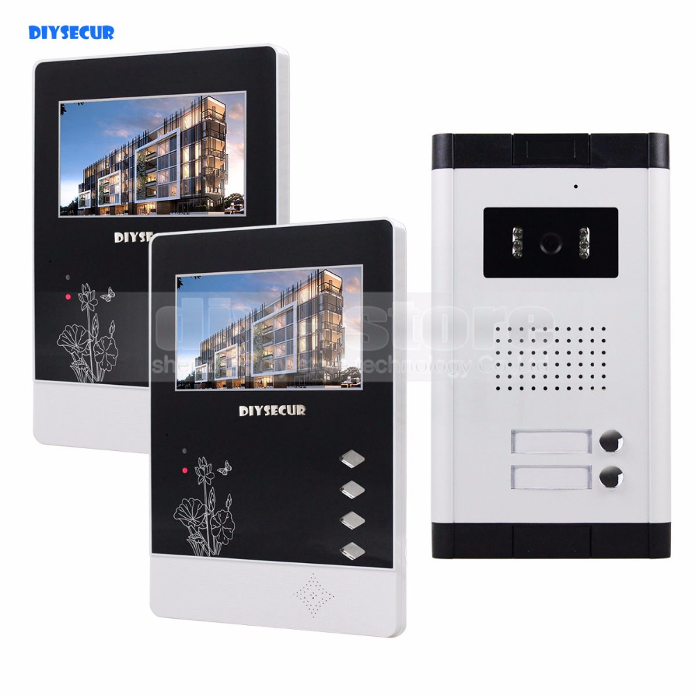 DIYSECUR 4.3 Apartment Video Intercom Video Door Phone Doorbell System IR Camera Touch Key For 2 Families