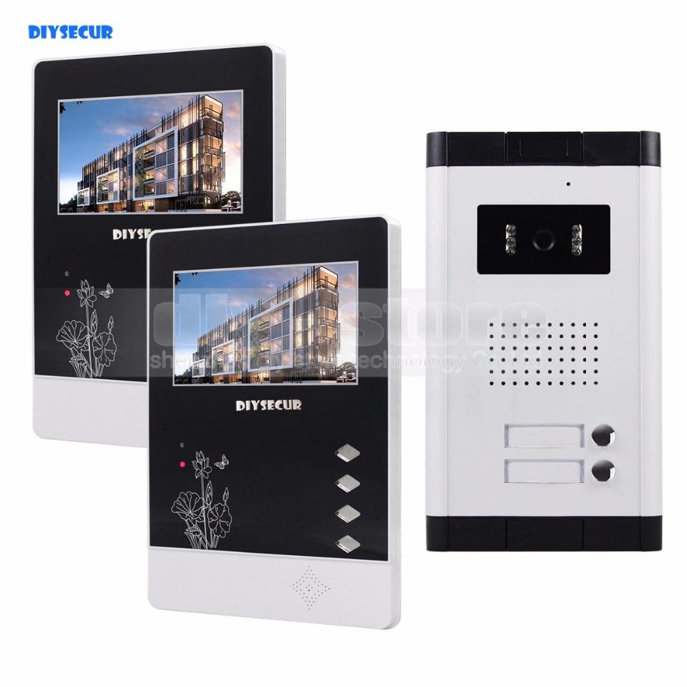 DIYSECUR 4.3 Apartment Video Intercom Video Door Phone Doorbell System IR Camera Touch K ...