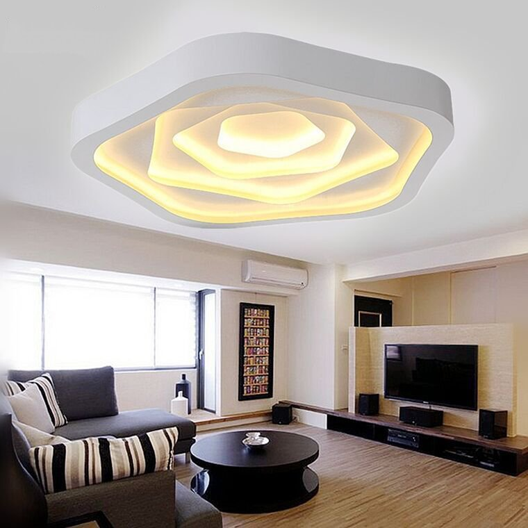 Lampara techo Avize Ceiling Lamps Iron Acylic Modern Ceiling Lights Plafon Lighting Fxiture Home Lamps