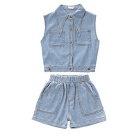 Children Clothing Sets Kids Clothes Summer Big Girls Sleeveless Cartoon Jeans Shirt+Shorts 2pc Fashion Girl Outfit For 3 12Years