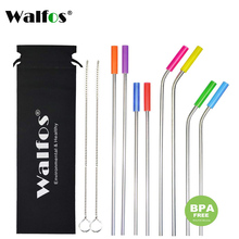 WALFOS 11pieces/set Stainless Steel Straws for 30 oz and 20 Tumblers Reusable Replacement Metal