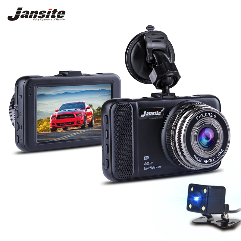 Jansite 3 Dual Lens Car DVR Camera Video Recorder Dash Cam Camcorder Registrator with Backup Rearview Cameras Night Vision WDR