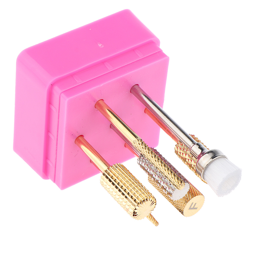 Professional 3/32 in Nail Drill Bits Brush Kit for Electric Carbide Rotary Manicure Pedicure Nail Art Tools, Set of 7