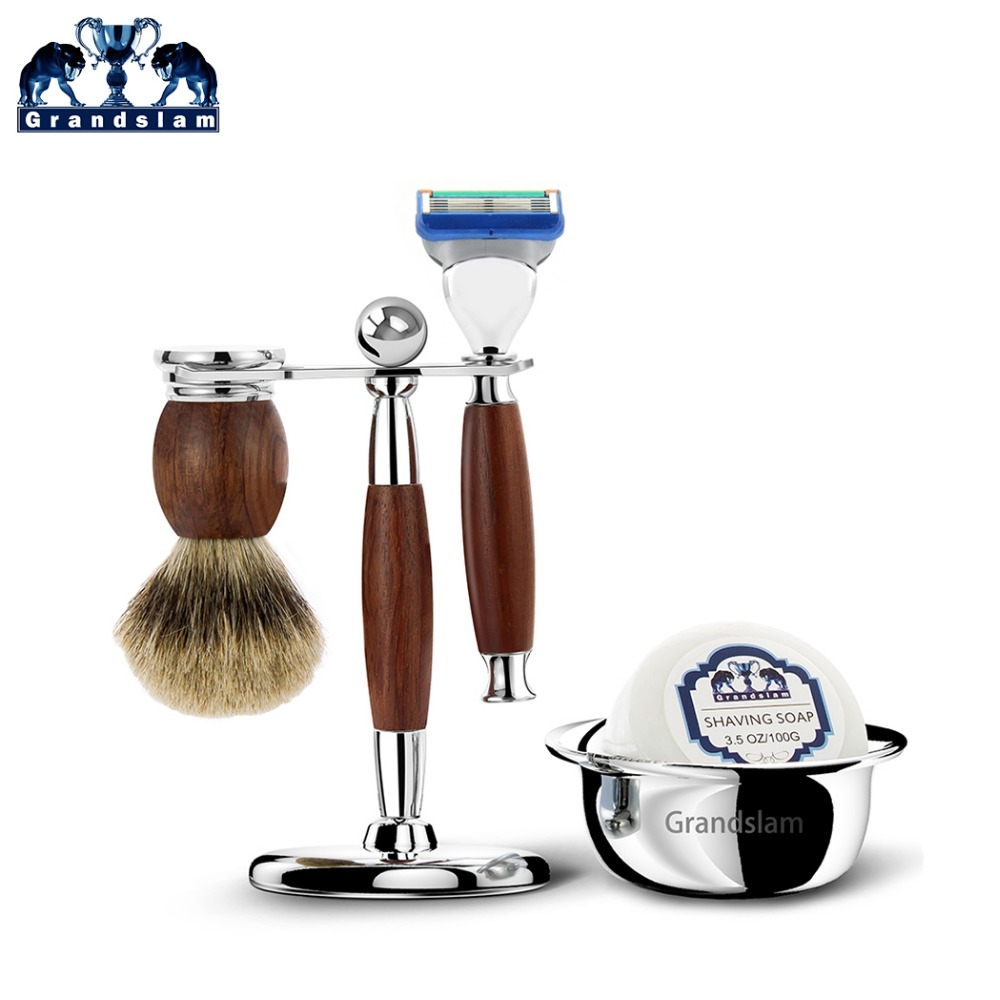 Grandslam Man Shaving Razor Set Cartridge Fusion 5 Blade Safety Razor Wood Badger Shaving Brush Stand Holder Shave Soap Bowl mens badger shaving brush stand razor holder and double head safety straight razor