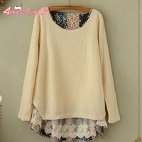 Autumn Women Blouses Japanese Style Mori Girl Fresh Floral Lace Stitching Long Sleeve Casual Loose Plus