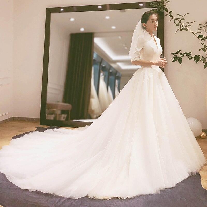 Simple Wedding Dresses 2019 Elegant V Neck Wedding Gowns Hepburn