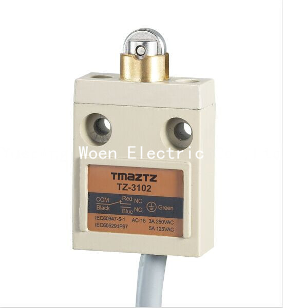 Tmaztz TZ-3102 IP67 4Wire Roller Lever Plunger Limit Switch SPDT NO+NC Copper wire 3M