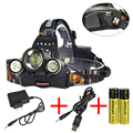 Promotions High power 8000 Lumens 3x XM-L L2 LED Rechargeable Headlamp Headlight USB Power bank  4 mode + Charger 18650 battery
