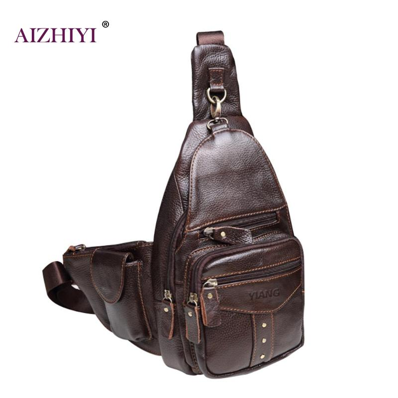 Men's Genuine Leather Retro Sling Chest Bag Belt Buckle Back Pack Cross Body Shoulder Messenger Unbalance Sports Pouch Mochila