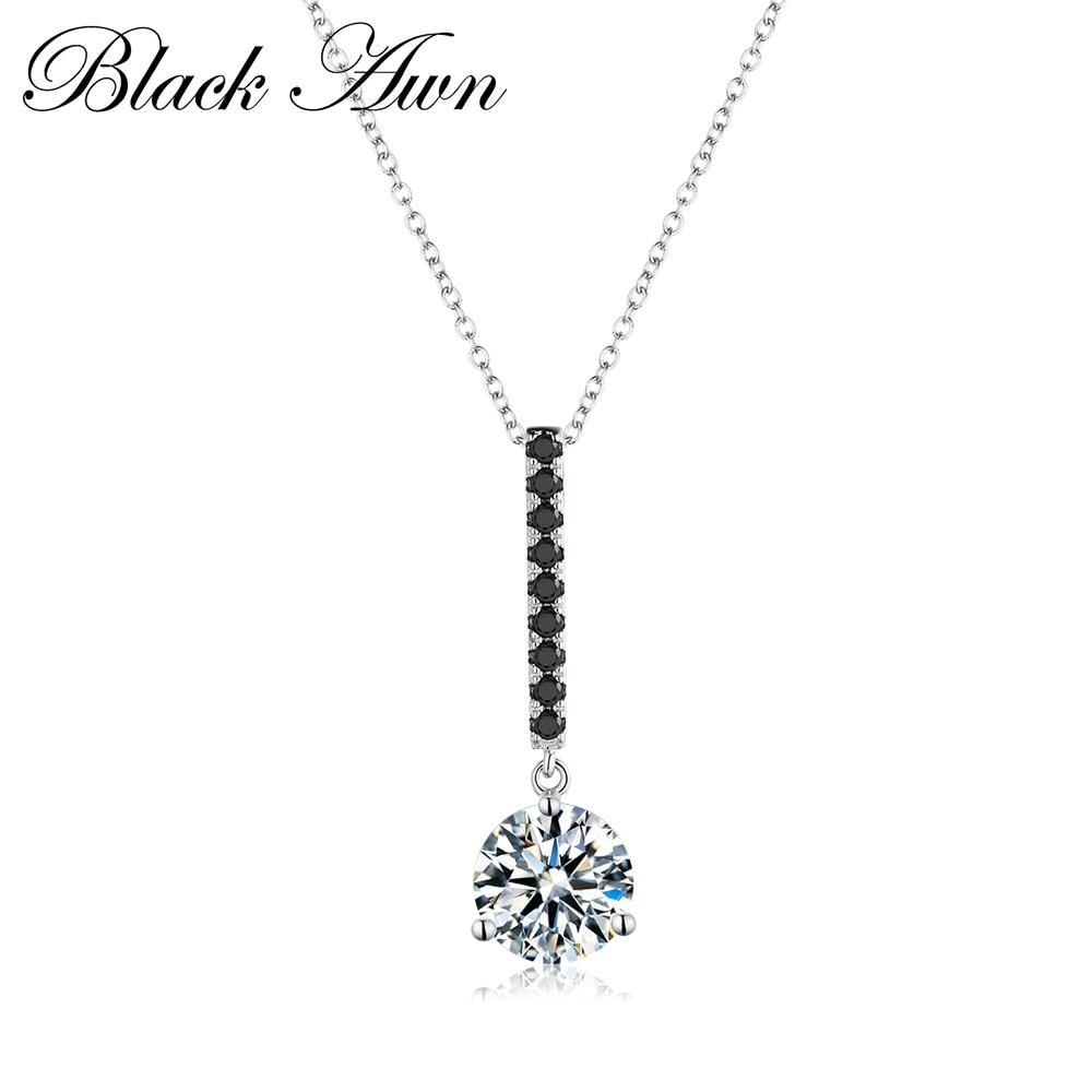BLACK AWN 2019Cute Genuine 100% 925 Sterling Silver Slide Necklace Women Jewelry Water-Drop Femme Necklaces&Pendants Bijoux P096