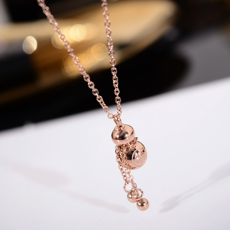 YUN RUO 2018 New Arrival Rose Gold Color Chinese Lucky Gourd Pendant Necklace 316L Titanium Steel Woman Jewelry Gift Never Fade