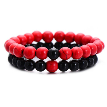 Classic Natural Stone Yin Yang Beaded Bracelets, 2Pcs/Set Bracelets Jewelry New Arrivals Women Jewelry Metal Color: red black