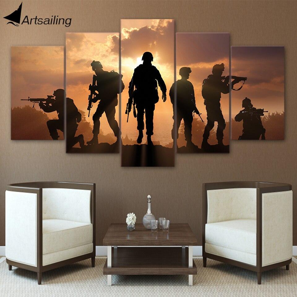 HD Gedruckt 5 Stück Patriotischen UNS military Malerei soldaten Leinwand mit armee Sunset Wand Bilder für Wohnzimmer battlefield