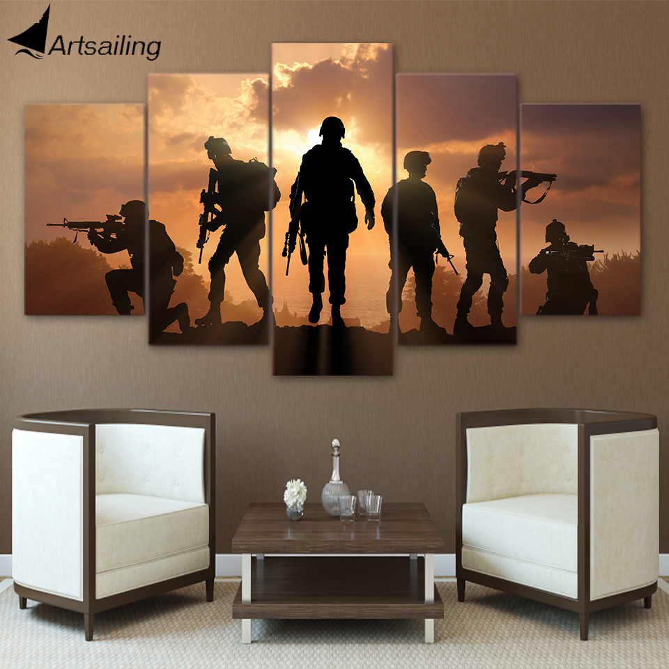 HD Printed 5 Piece Canvas Art contribute to Army Soldier Sunset Painting Wall Pictures for Living Room Canvas Free Shipping
