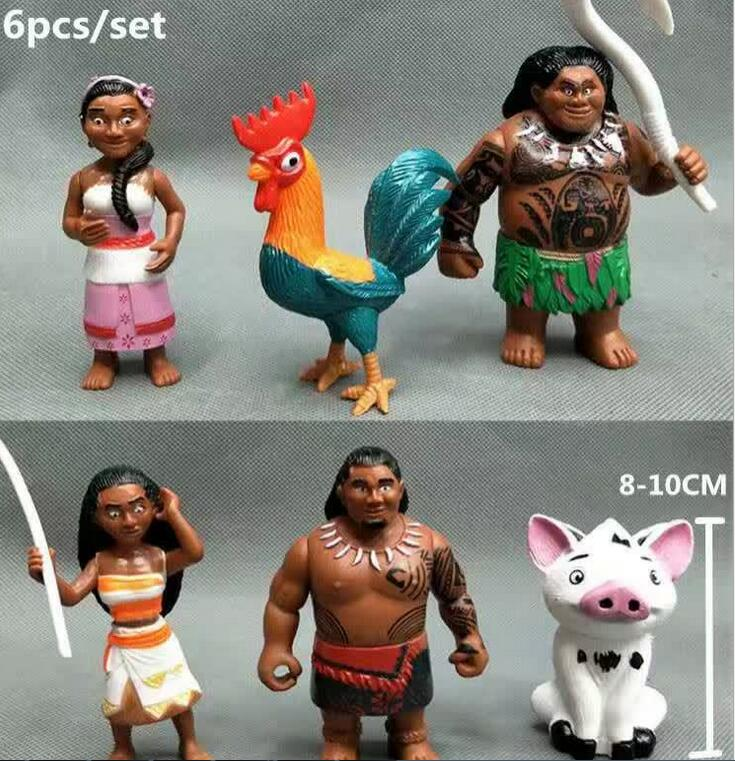 6/12PCS set Lovely Moana Princess Figure Toys Model Action Figure Toys For Children Home Decor Birthday Gift 24 pcs set the elves papa smurfette clumsy figures elves papa action figure for children toys dolls blue color birthday gift
