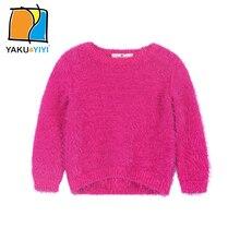 YKYY YAKUYIYI Rose Pink Girls Sweater Long Sleeve Baby Girls Pullover Tops Soft Hairy O-neck Children Sweater Girls Clothing