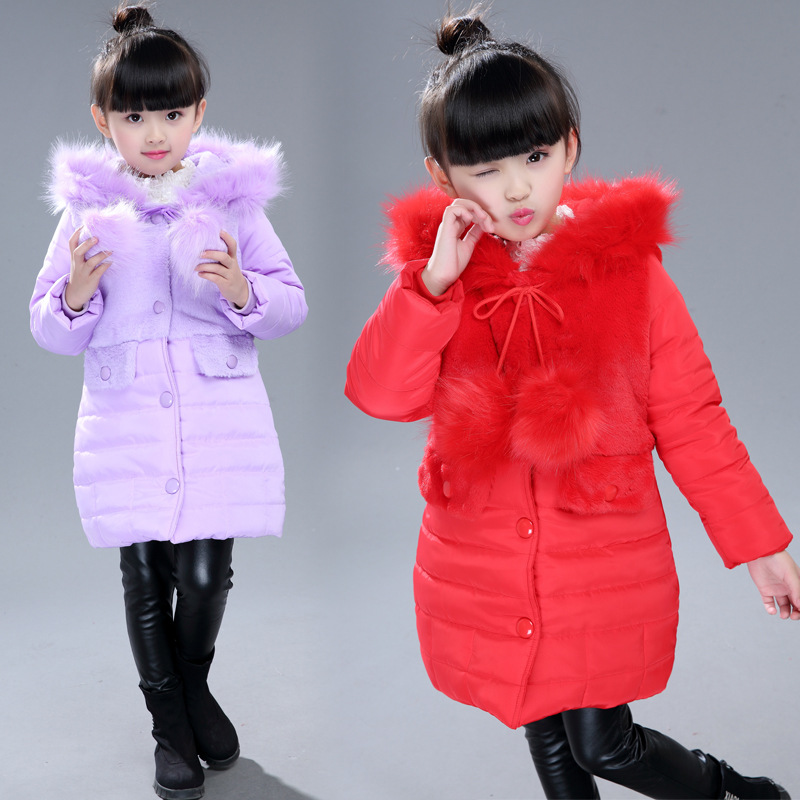 Kindstraum 2017 Winter Girls Warm Coat Solid Fashion Kids Cotton Jacket Hooded Children Casual Warm Outwear for Girls, MC856 2016 winter dinosaur monster jacket fashion girls boys cotton hooded coat children s jacket warm outwear kids casual wear 16a12