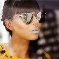 Clássico olho de Gato Óculos De Sol Das Mulheres Designer de Marca óculos de Sol Sem Aro Torção Curva Moda S15096 Lente Espelho Homens Óculos de Sol de vidro