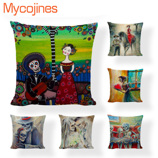 Mexican Sugar Skull Cushion Cover Wedding Gifts Dia De Los Muertos ...