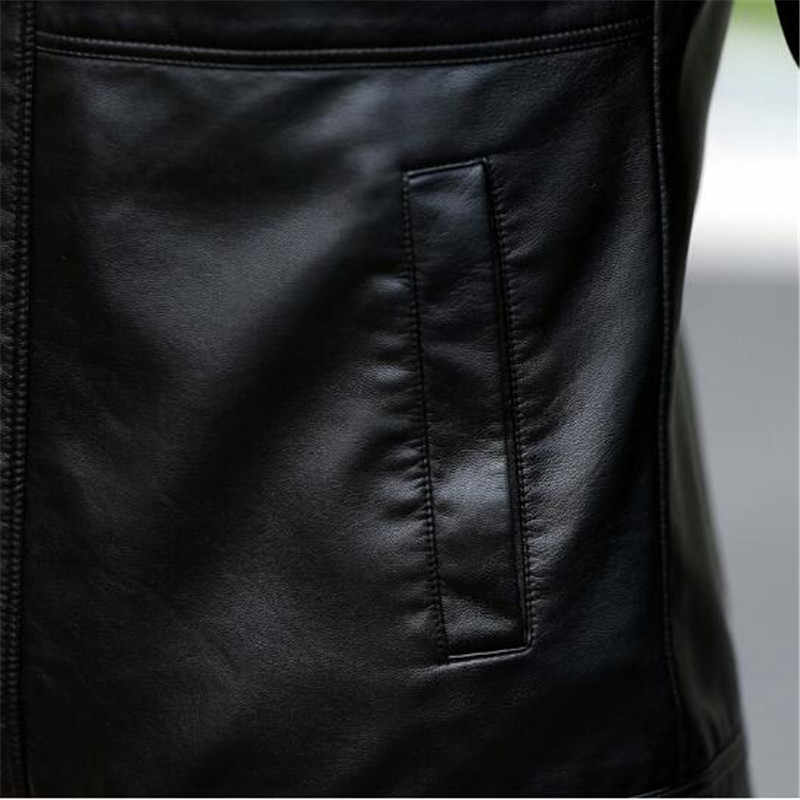 5XL 革ジャケットデザインスタンドカジュアルオートバイの革のコートメンズジャケットコート 2019 新