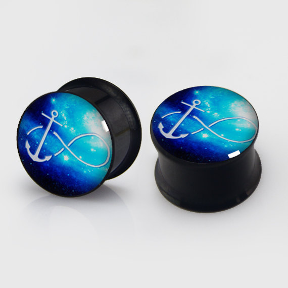 2 Pieces Infinity Amp Anchor Plugs Anodized Black Ear Plug