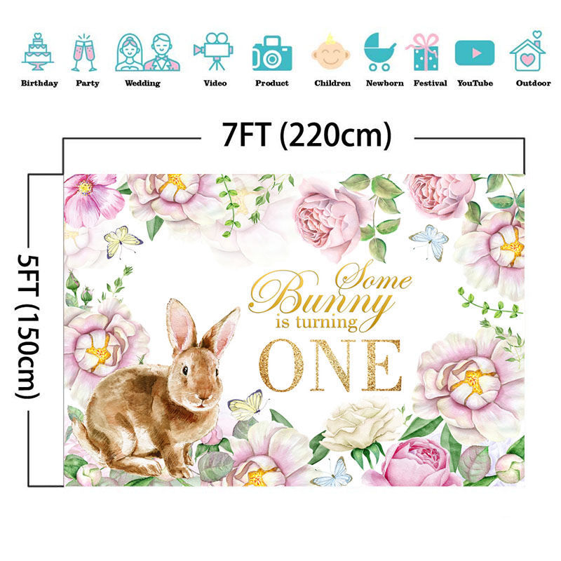 NeoBack Child Kids 1th Birthday Backdrop Cute Rabbit Birthday Themed Background Watercolor Flower Birthday Banner Backdrops in Background from Consumer Electronics