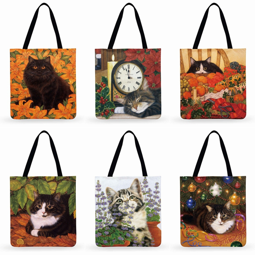 Cartoon Pastoral Cat Print Casual Tote Linen Multi-function Fashion Shopping Bag Reusable Ladies Tote Bag Daily Beach Bag