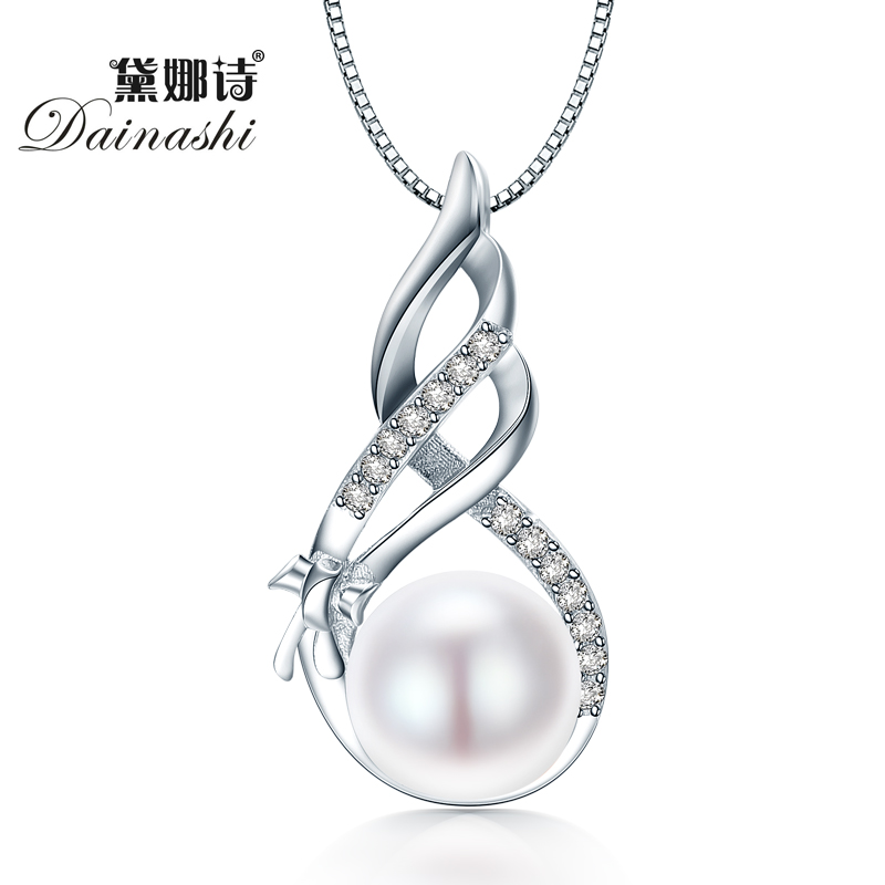 Dainashi Amazing Price 925 Sterling Silver Jewelry High Quality Luster Natural Pearl Jewelry White Pink Pendant