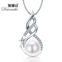 Dainashi Amazing Price 925 Sterling Silver Jewelry High Quality Luster Natural Pearl Jewelry White/Pink Pendant Gift Box