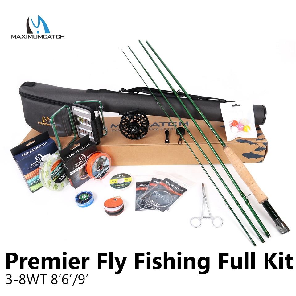 Maximumcatch Premier AVID 8'6''/'3-8WT Completa Fly Rod Reel Linea Ganci Accessori Combo Pieno Fly Fising Asta Kit