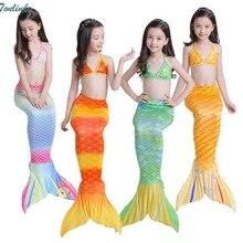 Children Mermaid Tail Kids Girls Costumes Swimming Swimsuit Flipper Bikini Beath Suits Swimwear 3-8Y