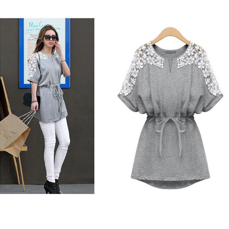 T Shirt 2015 Spring Summer Short-Sleeved Lace Patchwork Long Bat Sleeve T-Shirts Fat MM Tide Women (2)