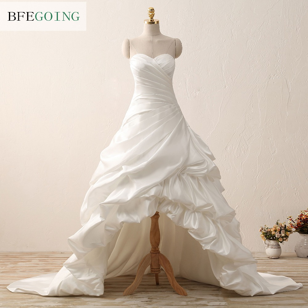 Ivory Soft Satin Sweetheart Floor-length A-line Wedding dress Chapel Train Sleeveless Off the Shoulder Custom made