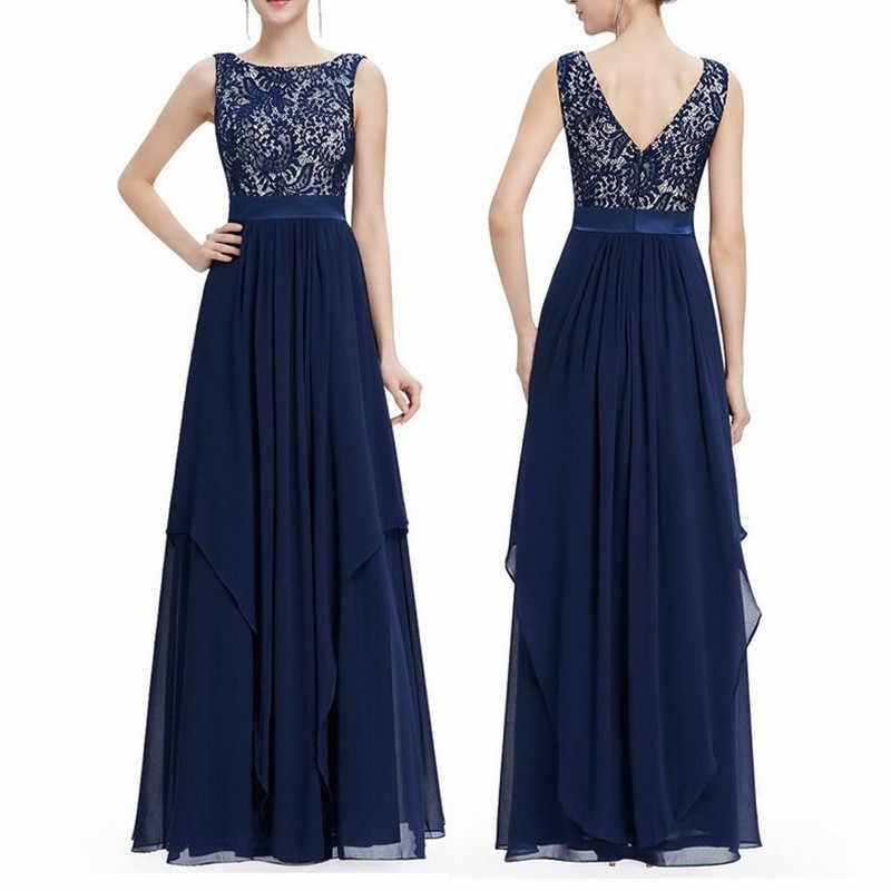 9a97b462b9 Hollow Vestido De Festa Navy Blue Robe Sexy Dress Women Party Dresses 2018  Sleeveless Vestido Long Summer Dress Chiffon FYY320