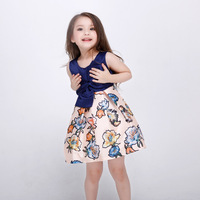 2016 Girl New Summer Sleeveless Dress Children Flower Printed Beautiful Big Bow Birthday Party Dresses Kids