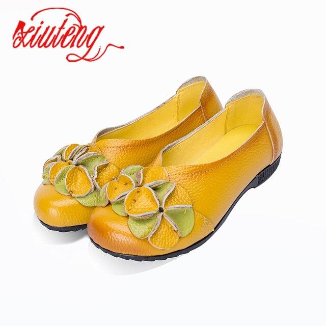 Xiuteng 2019 Yeni Yaz Ayakkabı Kadın Hakiki Deri Düz Sandalet Kadın Yuvarlak Ayak Ayakkabı Yumuşak Rahat Bayan ayakkabıları