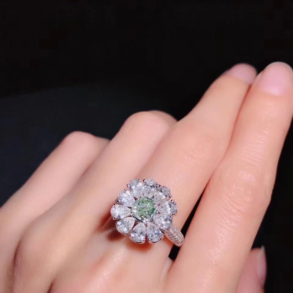 AEAW 固体 14 18K 585Au ゴールドグリーン 2.5ctw モアッサナイトリング梨モアッサナイトの婚約指輪とのネックレス (デュアル使用)  グループ上の ジュエリー & アクセサリー からの 指輪 の中 3