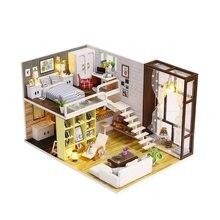 Kota Sederhana Kamar Rumah Boneka Miniatur DIY Dollhouse Furniture Gaya  Vintage 3D Rumah Kayu Mainan Penutup Debu Anak-anak Hadi. 299f09072a
