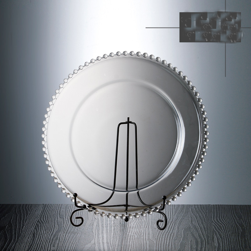Vaisselle européenne en verre perle or incrustation | Vaisselle assiette à Steak salade 10 pouces, plats de fête décoration d'événement, vaisselle pour dîner de fruits 1 pièce - 2