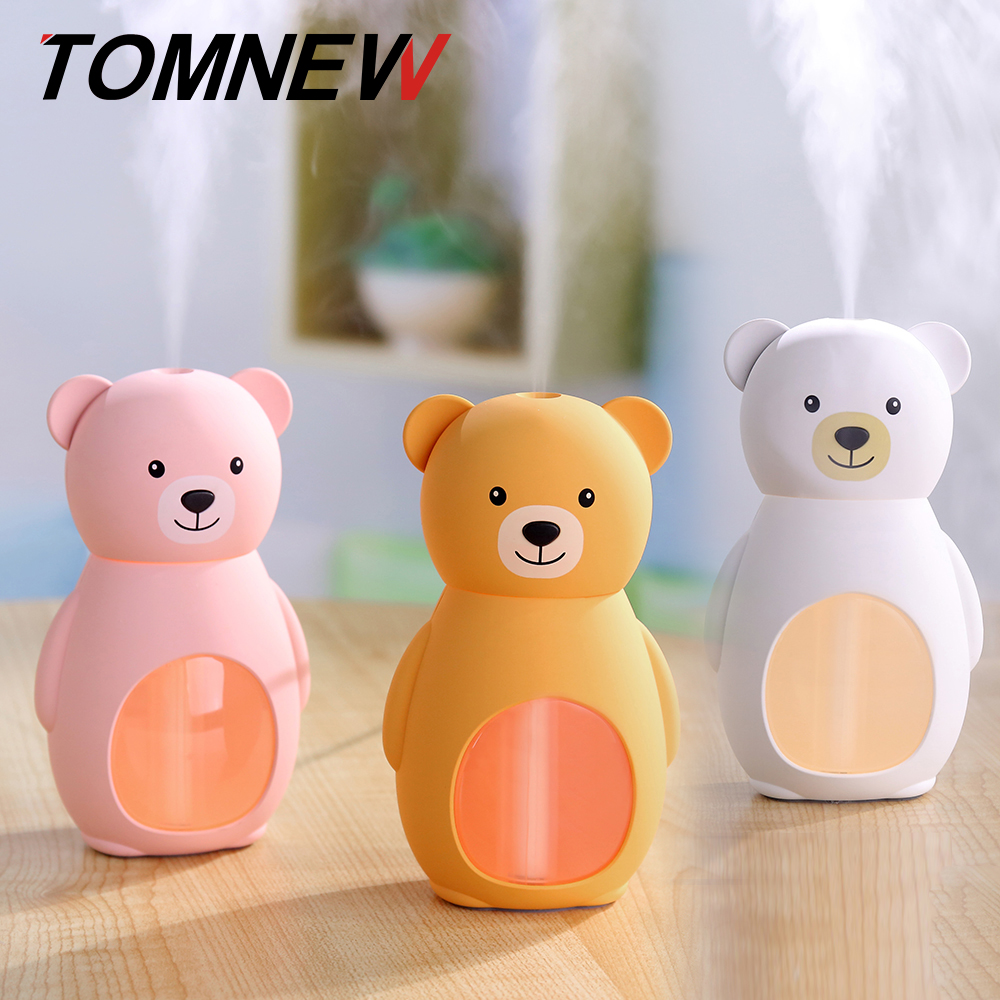 TOMNEW USB Mini Cool Mist Humidifier 160ML Portable Ultrasonic Cute Bear Air Diffuser with LED Night Light for Home Office Car