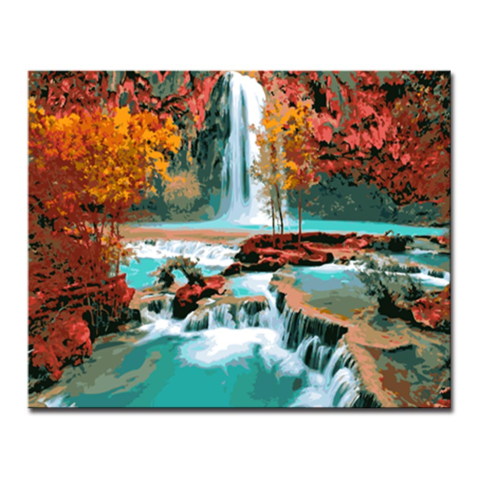 Arts & Crafts RFGED Waterfall Landscape Oil Painting By Numbers Diy Picture Drawing On Canvas Oil Painting By Hand Coloring For Modern Home Wall Art 40x50cm Framed