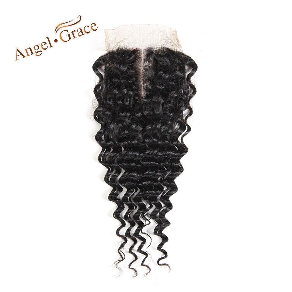[Ангел благодати волос] глубокая волна волосы закрытия шнурка 100% бразильский человеческих волос Швейцарский шнурок натуральный Цвет Средн...
