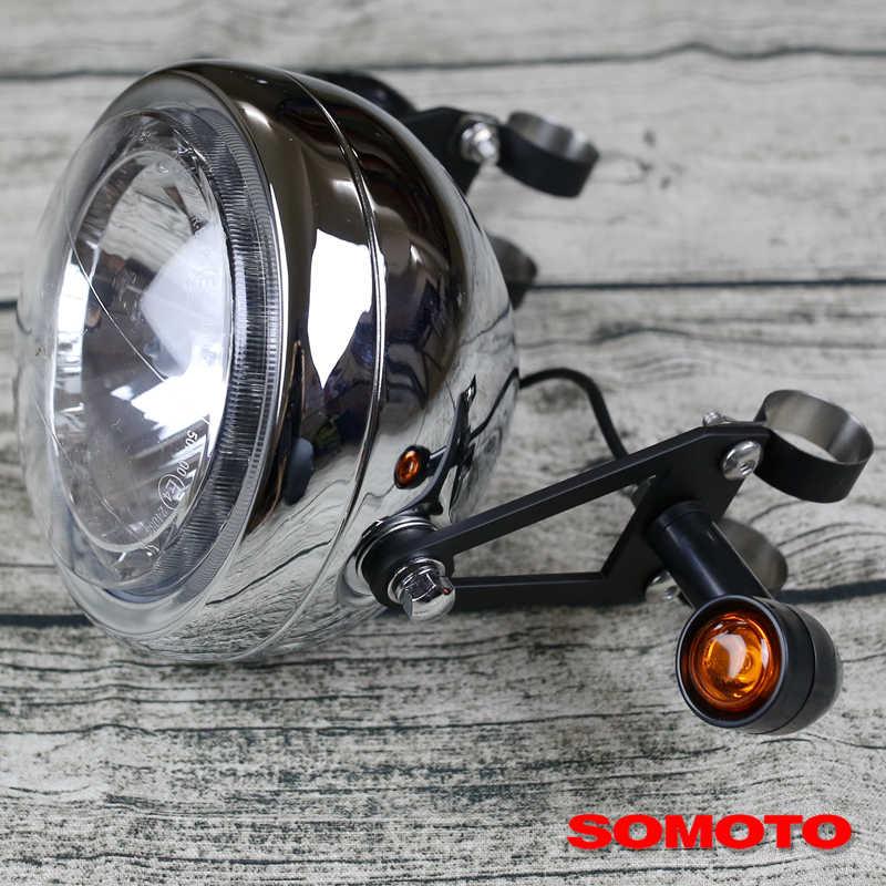 Uniwersalny, niestandardowy, ręcznie wykonany czarny wspornik reflektorów ze stali, uchwyt na światła do motocykli retro na zamówienie